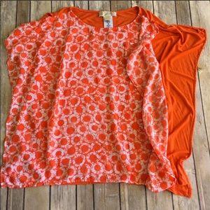 Michael Kors   Flowy Batwing Orange Blouse Size S
